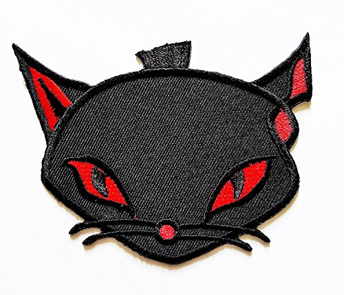 Black Cat Halloween Red eyes patch Ideal for adorning your jeans, hats, bags, jackets and shirts. -