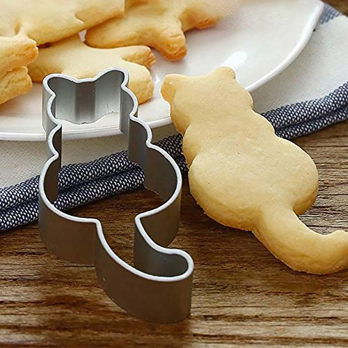 Clearance Tuscom Cartoon Animal Kitten Cutting Sugar Craft Aluminium Cake Cookies Pastry Baking Cutter Mold (Silver)