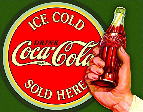 (Desperate Enterprises Coca-Cola Ice Cold Bullseye Tin Sign, 16