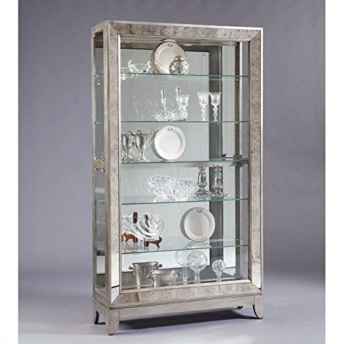 Pulaski Side Entry Curio, 46 by 14 by 82-Inch, Silver