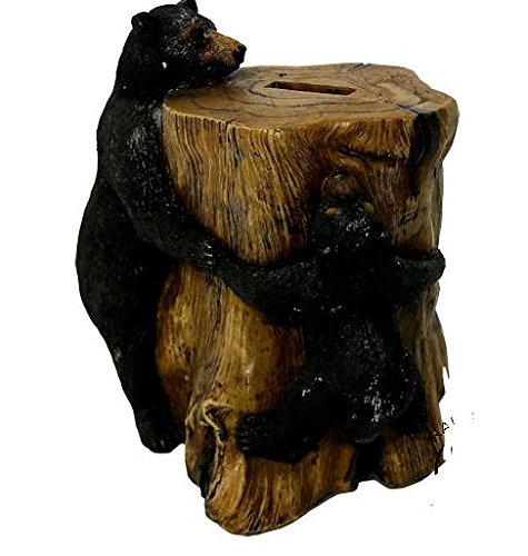 Bear Piggy Bank - Colors of Rainbow BLACK BEAR FAUX WOOD PIGGY BANK Hand Painted Rustic Home Decoration