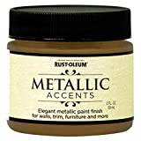 Rust-Oleum Metallic Accents 255328 Decorative 2-Ounce Trail Size Water Based One Part Metallic Finish Paint, Gold Mine