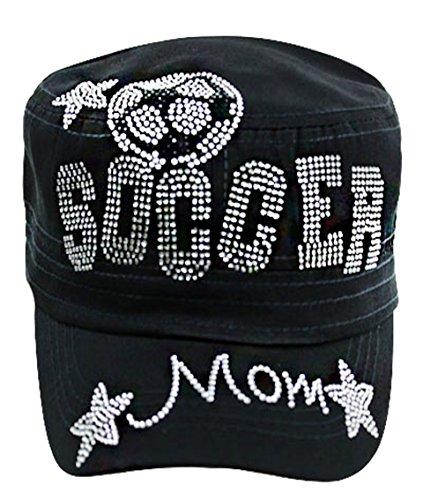Rhinestone Soccer Black Headwear Sports