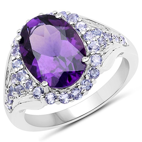 925 Sterling Silver Genuine Amethyst and Tanzanite Ring (5.90 Carat) Size 8