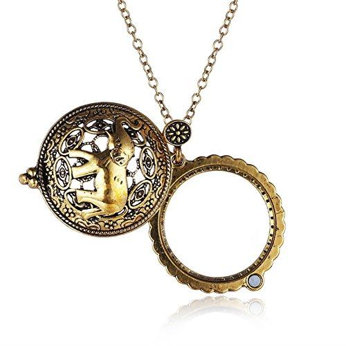 [Actopus Gold Tone Glass Elephant Magnifier Pendant Animal Necklace] (Elephant Magnifier)