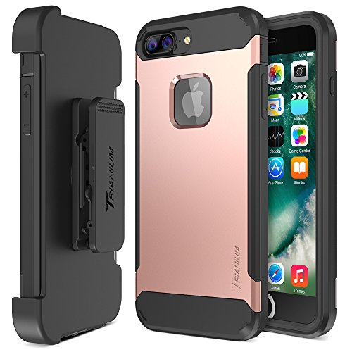iPhone 7 Plus Case, Trianium [Duranium Series] Heavy Duty Protective Cases Shock Absorption Covers w/ Built-in Screen Protector+ Holster Belt Clip Kickstand for Apple iPhone 7 Plus 2016 - Rose Gold
