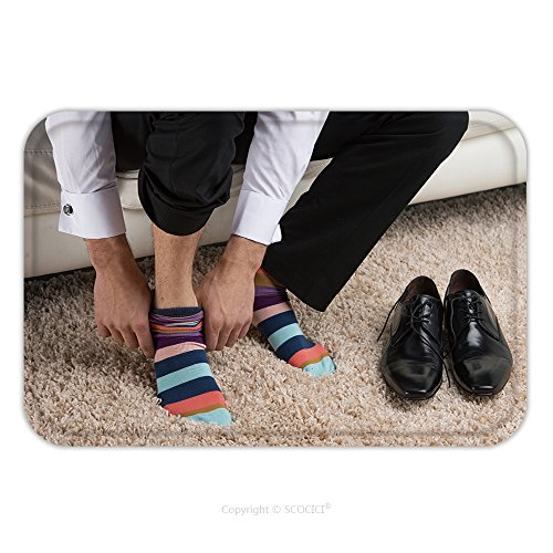 Sock Hop Ideas (Flannel Microfiber Non-slip Rubber Backing Soft Absorbent Doormat Mat Rug Carpet Close Up Of A Man Wearing Colorful Sock Under Classical Business Suite Idea Of Being Different 161280929 for Indoor/Out)