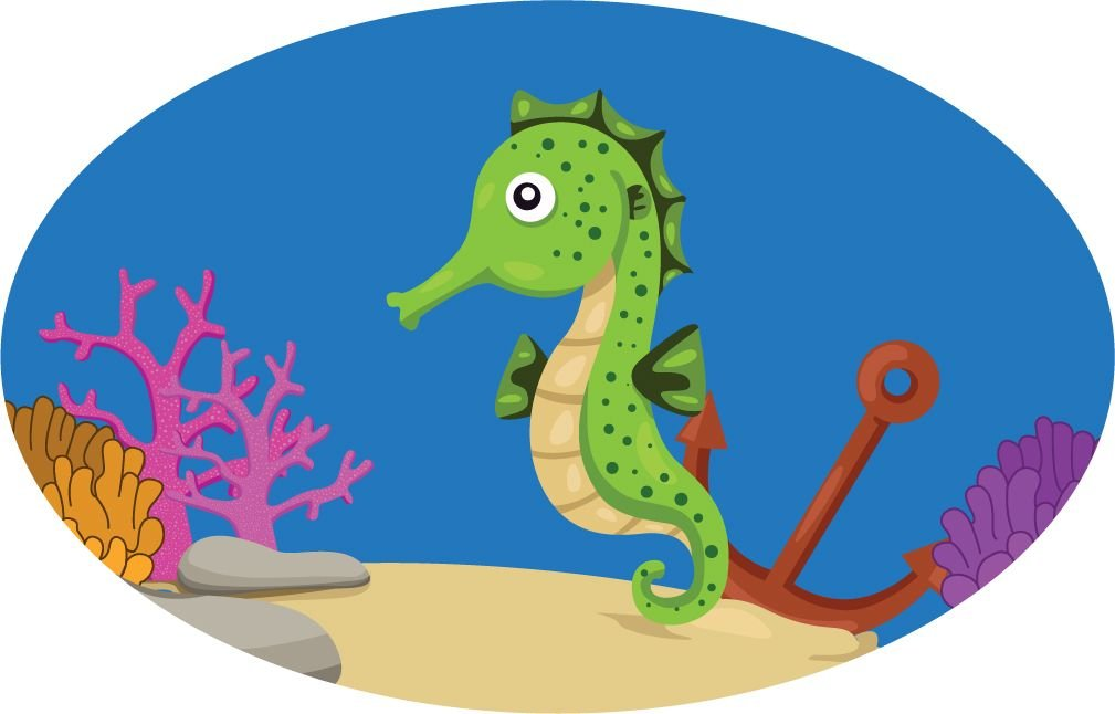 Funny Sea Horse Underwater Animal Cartoon Home Decal Vinyl Sticker 14'' X 9''