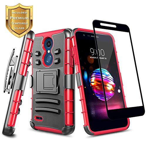 LG K30 Case, Xpression Plus/Premier Pro/Phoenix Plus /K10 2018 /Harmony 2 w/[Full Cover Tempered Glass Screen Protector], NageBee Belt Clip Holster Heavy Duty Shockproof Kickstand Rugged Case -Red