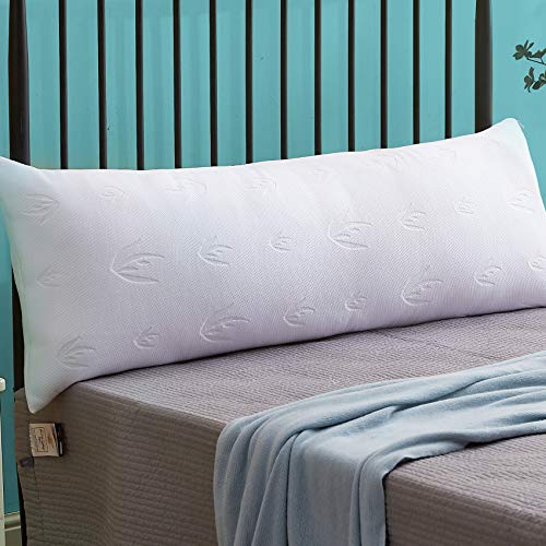 Decroom Full Body Pillow with Pillowcase, Large Body Pillow for Adults, Hypoallergenic Removable Bamboo Cover and Microfiber Filling, Support and Comfort for Stomach and Side Sleepers-20 x 54 inch