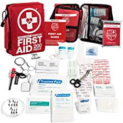 PREMIUM QUALITY: This Premium First Aid Emergency Kit comes with 200 medical-grade items in a compact sleek design. Extra flap allows for easy access to first aid items and the light weight (12.5 ounces) makes it easy for traveling, keeping i...