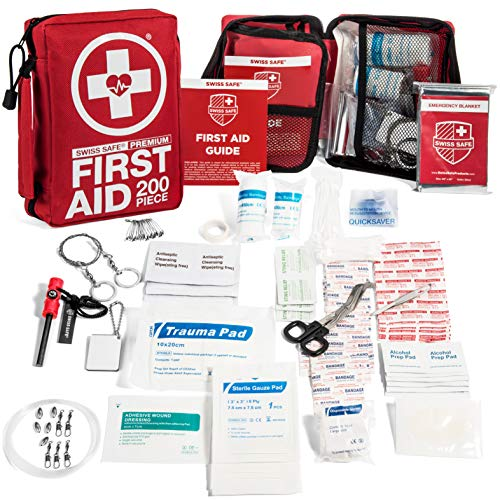 First Aid & Survival Kit (200-Piece): Upgraded Survival Tools, Enhanced Emergency Supplies for Camping & Outdoor (Swiss Safe 2 In 1 First Aid Kit)