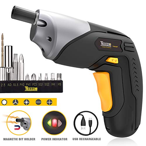 Cordless Screwdriver, Electric Screwdriver Rechargeable, 4V 2000mAh Li-ion, MAX Torque 4Nm - Dual LED, Palm-Sized, 10 Pcs Various Bits, Power Indicator, USB Charging with Cable -TDSC02P