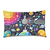 ALAZA 3D Galaxy Universe Planet Solar System Cotton Lint Pillow Case,Cover with Zipper Pillowcase Twice Sides Printing Size 20''x30'',for Bedroom Living Room