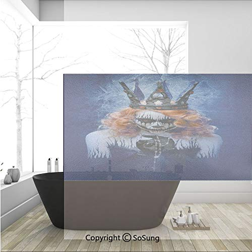 3D Decorative Privacy Window Films,Queen of Death Scary Body Art Halloween Evil Face Bizarre Make Up Zombie,No-Glue Self Static Cling Glass Film for Home Bedroom Bathroom Kitchen Office 36x24 Inch