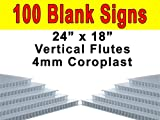 Pack of 100 Sheets Corrugated Plastic 4MM WHITE Blank Yard Signs 24'' x 18'' Short-Flute