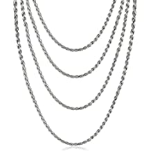 Stainless Steel French Rope Chain Necklace,Set of 4