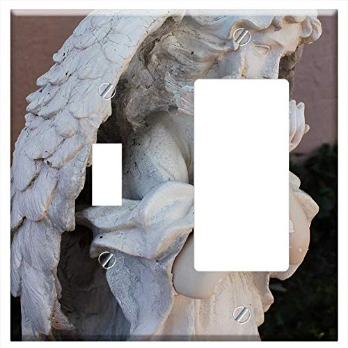 1-Toggle 1-Rocker/GFCI Combination Wall Plate Cover - Angel Angelic Statue Sculpture Stone Religion