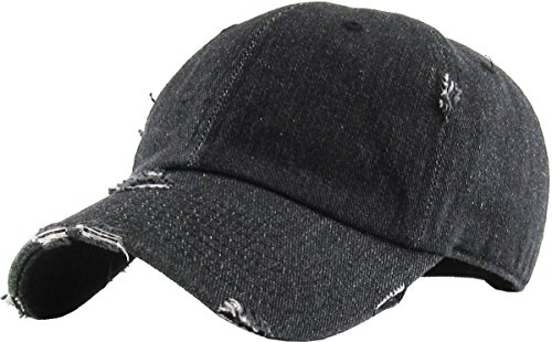 Classic Black Baseball - KBE-Vintage BDM Vintage Washed Cotton Dad Hat Baseball Cap Polo Style