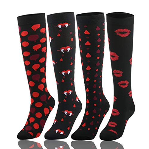 YOLIX Compression Socks Women and Men 20-30 mmHg - 4 to 6 Pairs Best Knee High Stocking for Travel, Sports, Pregnancy, Medical, Nursing, Flight (4 Pairs,Red Lips Vampire, Small/Medium) -