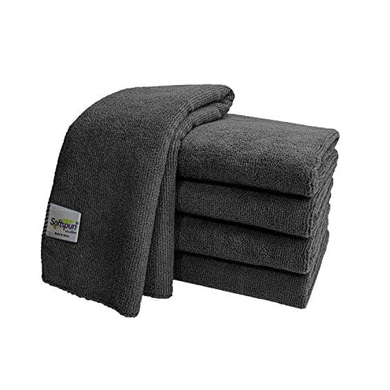 SOFTSPUN Microfiber Cloth - 5 pcs - 40x40 cms - 340 GSM Grey- Thick Lint & Streak-Free Multipurpose Cloths - Automotive Microfibre Towels for Car Bike Cleaning Polishing Washing & Detailing
