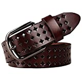 JasGood Fashion Genuine Leather Belt For Women Dress Belt Unique Style(E-Dark Brown),E-dark Brown,One Size
