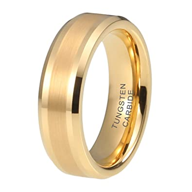 Amazon Com Itungsten 6mm 8mm Gold Tungsten Rings For Men Women