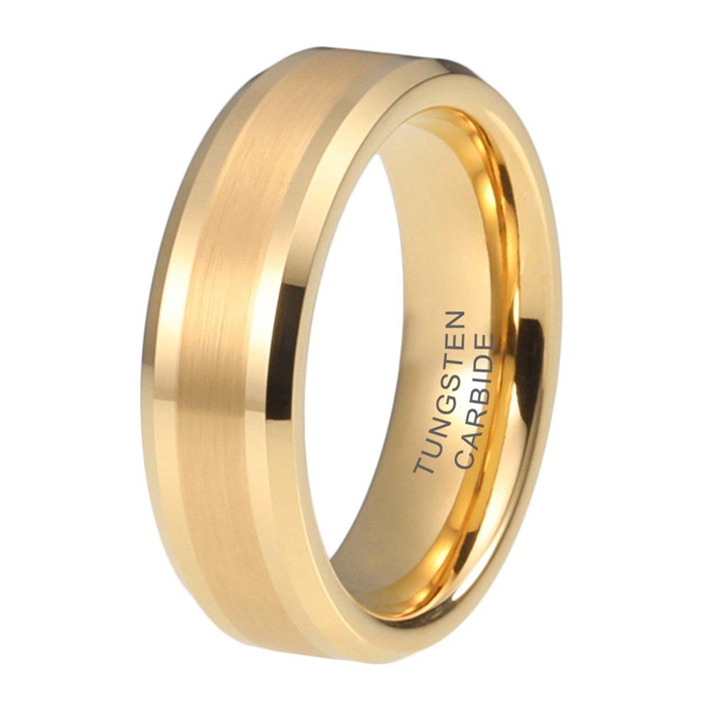 iTungsten 6mm 8mm Gold Tungsten Carbide Rings for Men Women Wedding Engagement Bands Comfort Fit
