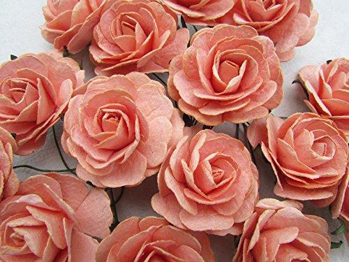(15 pcs BIG Rose Orange color Mulberry Paper Flower 40 mm scrapbooking wedding doll house supplies card)