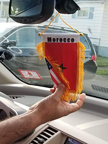 Double Country Morocco/USA Flag Rear View Mirror Mini Banner 4