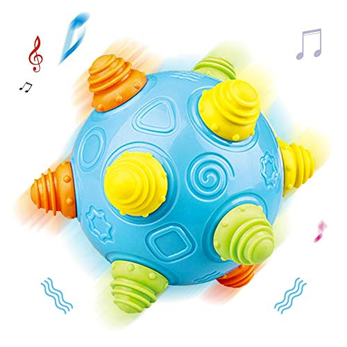 QHTOY DHSM Baby Music Shake Dancing Ball Toy Free Jumping Bouncing Vibrating Ball for Toddler Sensory Developmental Toy (Operated Bouncy Ball Battery)