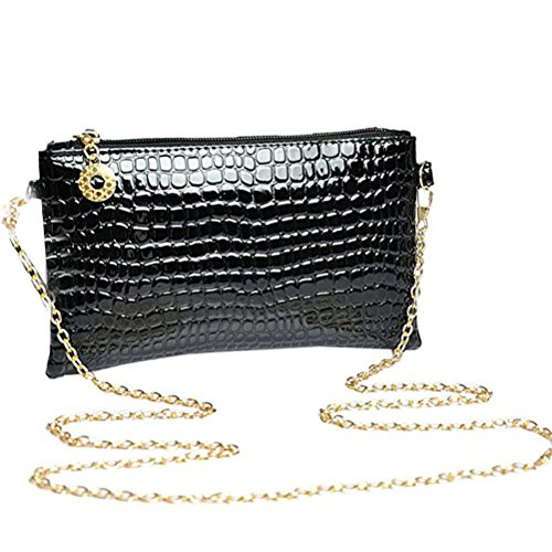 Strap Bag Black Women Shoulder Alligator Pattern Donalworld Chain FxIACwxq