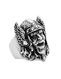 PAMTIER Men's Ancient Army Helmet Head Biker Ring Stainless Steel Nordic Pirates Vikings Band