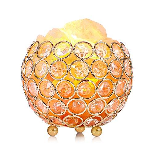 Himalayan Salt Lamp Pink Crystal Sea Salt Rock Lamp Bowl 2x15W Bulbs,Metal Base,Dimmable Controller,UL-Listed Cord