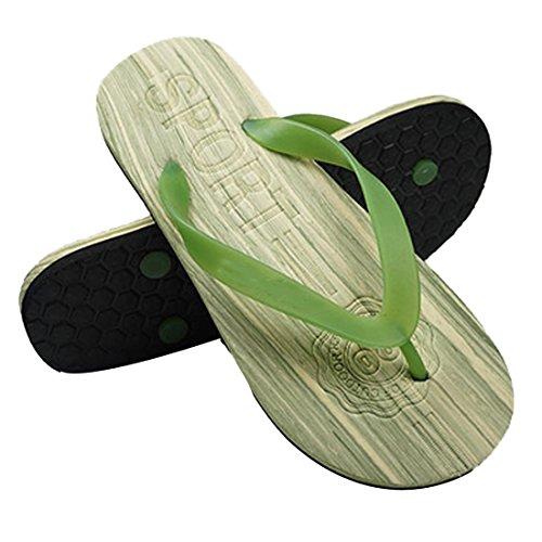 Voberry Mens Flat Flip Flops Trä Som Sandaler Inomhus Utomhus Strand Flip-flops Grönt