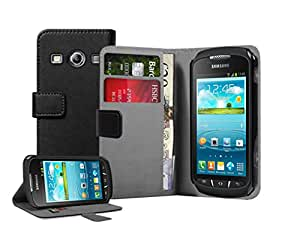 Membrane - Black Wallet Book-Style Case for Samsung Galaxy Xcover 2 II (GT-S7710 / S7710L) - Flip Phone Cover + 2 Screen Protectors