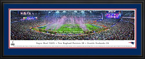 Super Bowl 2015 - New England Patriots Champions - Blakeway Panoramas NFL Posters with Deluxe Frame