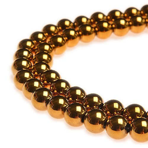 (PLTbeads 8mm Hematite Gold Plated Gemstone Round loose Beads Approxi 15.5 inch 48pcs 1 Strand per Bag for Jewelry Making Findings Accessories )