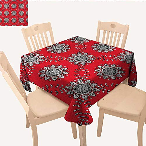 (All of better Red Mandala Tassel Tablecloth Sketchy Leaves Swirl Ivy Victorian Mesh Design Inspired Image Table Cloths Spill Proof Vermilion Grey Black White W 36