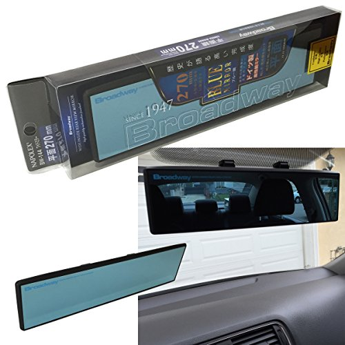Universal Napolex BROADWAY BW-144 Blue Tint 270mm Flat Face Clip-On Wide Rearview Mirror JDM Style Sport Auto US Seller
