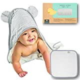 Premium Hooded Baby Towel and Washcloth Set | Organic Bamboo Baby Towels with Hood | Extra Large 2x as Soft & Thick Baby Bath Towel | Baby Hooded Towel for Boy, Girl, Newborn, Infant, Toddler