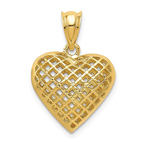 14K Yellow Gold Fancy Lattice Mesh Heart Charm 20x15mm