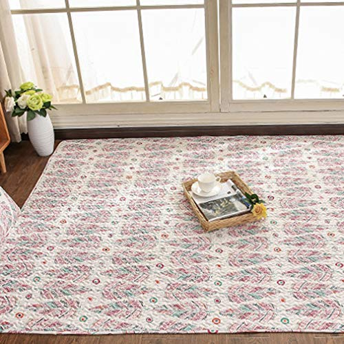 GIY Bohemian Living Room Area Rug Soft Floral Feather Rectangular Carpets Children Crawling Bedroom Rug Non-Slip Mats Home Decor Outdoor Indoor Runners 2' X 4' (Baja Square Rug)