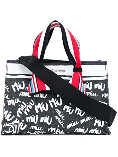 Miu Miu Black Bag (Miu Miu Women's 5Bg1092bs1f0p51 White/Black Cotton Handbag)