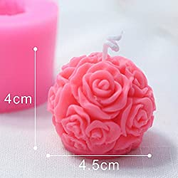 3D Rose Ball Candle Mold - MoldFun Rose Flower Sil