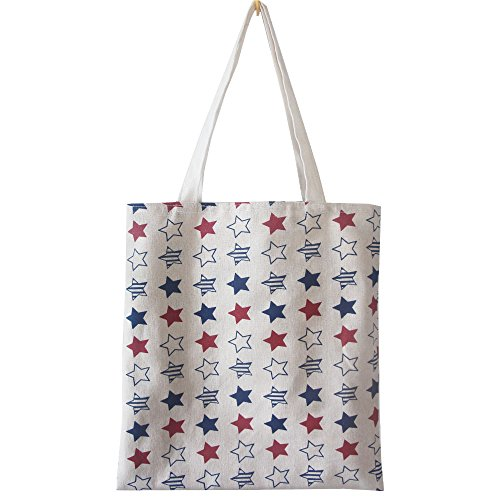 FashionBoutique Heavy Duty Cotton Canvas Reusable Shopping Tote Bag or Daily Use Bag with Beautiful Pattern and Large Inner Pocket (Star)