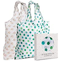 Momiji Reusable Grocery Shopping Bags, Polyester, Set of 2, with Handles - Large, Foldable Tote Bag Sets for Carrying…
