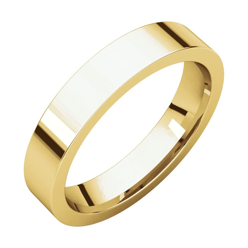 14k Yellow Gold 4mm Flat Comfort Fit Band, 14kt Yellow gold, Ring Size 7.5