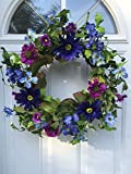 Mysterious Meadows Silk Floral Wreath Shades of Blues and Purples Indoor Spring Summer Fall Seasonal Decor