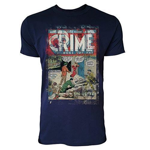 SINUS ART® Crime Herren T-Shirts stilvolles dunkelblaues Navy Fun Shirt mit tollen Aufdruck